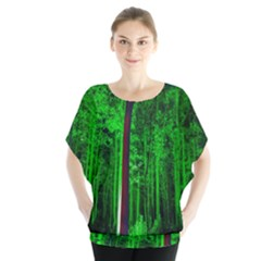 Spooky Forest With Illuminated Trees Blouse