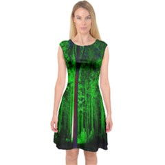 Spooky Forest With Illuminated Trees Capsleeve Midi Dress