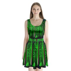 Spooky Forest With Illuminated Trees Split Back Mini Dress