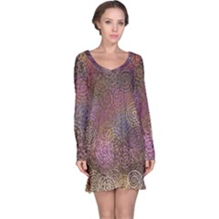 2000 Spirals Many Colorful Spirals Long Sleeve Nightdress
