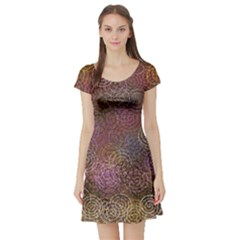 2000 Spirals Many Colorful Spirals Short Sleeve Skater Dress