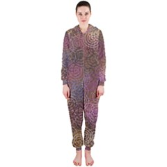 2000 Spirals Many Colorful Spirals Hooded Jumpsuit (Ladies)