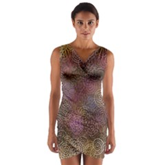 2000 Spirals Many Colorful Spirals Wrap Front Bodycon Dress
