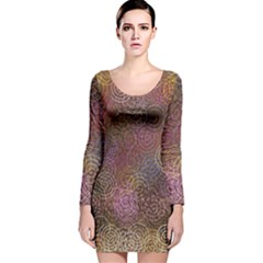 2000 Spirals Many Colorful Spirals Long Sleeve Velvet Bodycon Dress
