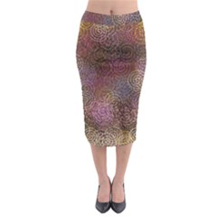 2000 Spirals Many Colorful Spirals Midi Pencil Skirt