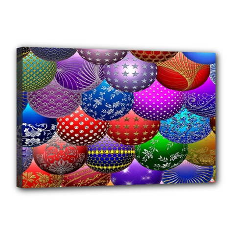 Fun Balls Pattern Colorful And Ornamental Balls Pattern Background Canvas 18  x 12