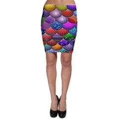 Fun Balls Pattern Colorful And Ornamental Balls Pattern Background Bodycon Skirt