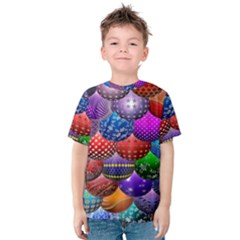 Fun Balls Pattern Colorful And Ornamental Balls Pattern Background Kids  Cotton Tee