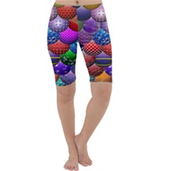Fun Balls Pattern Colorful And Ornamental Balls Pattern Background Cropped Leggings