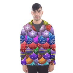 Fun Balls Pattern Colorful And Ornamental Balls Pattern Background Hooded Wind Breaker (Men)