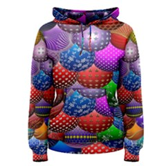 Fun Balls Pattern Colorful And Ornamental Balls Pattern Background Women s Pullover Hoodie