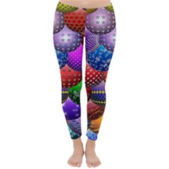 Fun Balls Pattern Colorful And Ornamental Balls Pattern Background Classic Winter Leggings