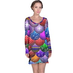 Fun Balls Pattern Colorful And Ornamental Balls Pattern Background Long Sleeve Nightdress