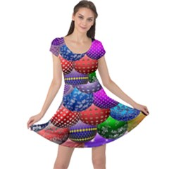 Fun Balls Pattern Colorful And Ornamental Balls Pattern Background Cap Sleeve Dresses
