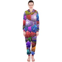 Fun Balls Pattern Colorful And Ornamental Balls Pattern Background Hooded Jumpsuit (Ladies)