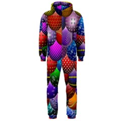 Fun Balls Pattern Colorful And Ornamental Balls Pattern Background Hooded Jumpsuit (men)