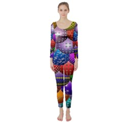 Fun Balls Pattern Colorful And Ornamental Balls Pattern Background Long Sleeve Catsuit