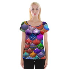 Fun Balls Pattern Colorful And Ornamental Balls Pattern Background Women s Cap Sleeve Top