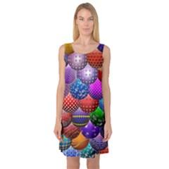 Fun Balls Pattern Colorful And Ornamental Balls Pattern Background Sleeveless Satin Nightdress