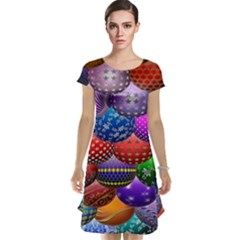 Fun Balls Pattern Colorful And Ornamental Balls Pattern Background Cap Sleeve Nightdress