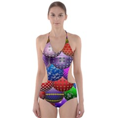 Fun Balls Pattern Colorful And Ornamental Balls Pattern Background Cut-Out One Piece Swimsuit