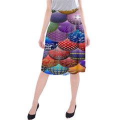 Fun Balls Pattern Colorful And Ornamental Balls Pattern Background Midi Beach Skirt