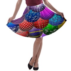 Fun Balls Pattern Colorful And Ornamental Balls Pattern Background A Line Skater Skirt