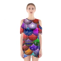 Fun Balls Pattern Colorful And Ornamental Balls Pattern Background Shoulder Cutout One Piece