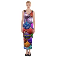 Fun Balls Pattern Colorful And Ornamental Balls Pattern Background Fitted Maxi Dress