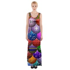 Fun Balls Pattern Colorful And Ornamental Balls Pattern Background Maxi Thigh Split Dress