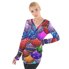 Fun Balls Pattern Colorful And Ornamental Balls Pattern Background Women s Tie Up Tee