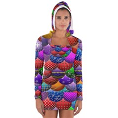 Fun Balls Pattern Colorful And Ornamental Balls Pattern Background Women s Long Sleeve Hooded T-shirt