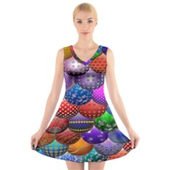 Fun Balls Pattern Colorful And Ornamental Balls Pattern Background V Neck Sleeveless Skater Dress