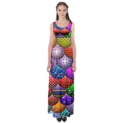 Fun Balls Pattern Colorful And Ornamental Balls Pattern Background Empire Waist Maxi Dress