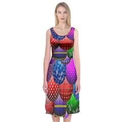 Fun Balls Pattern Colorful And Ornamental Balls Pattern Background Midi Sleeveless Dress