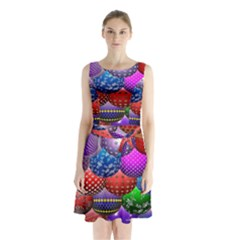 Fun Balls Pattern Colorful And Ornamental Balls Pattern Background Sleeveless Chiffon Waist Tie Dress