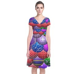 Fun Balls Pattern Colorful And Ornamental Balls Pattern Background Short Sleeve Front Wrap Dress