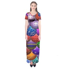 Fun Balls Pattern Colorful And Ornamental Balls Pattern Background Short Sleeve Maxi Dress