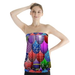 Fun Balls Pattern Colorful And Ornamental Balls Pattern Background Strapless Top