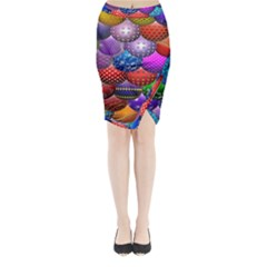 Fun Balls Pattern Colorful And Ornamental Balls Pattern Background Midi Wrap Pencil Skirt