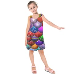 Fun Balls Pattern Colorful And Ornamental Balls Pattern Background Kids  Sleeveless Dress