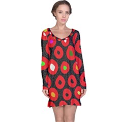 Polka Dot Texture Digitally Created Abstract Polka Dot Design Long Sleeve Nightdress