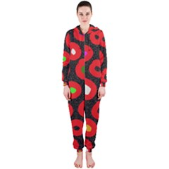 Polka Dot Texture Digitally Created Abstract Polka Dot Design Hooded Jumpsuit (Ladies)