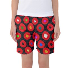Polka Dot Texture Digitally Created Abstract Polka Dot Design Women s Basketball Shorts