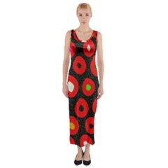 Polka Dot Texture Digitally Created Abstract Polka Dot Design Fitted Maxi Dress