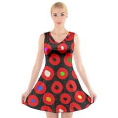 Polka Dot Texture Digitally Created Abstract Polka Dot Design V Neck Sleeveless Skater Dress