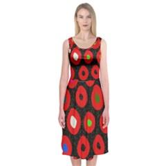Polka Dot Texture Digitally Created Abstract Polka Dot Design Midi Sleeveless Dress