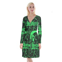 Bloodstream Single Ed Sheeran Long Sleeve Velvet Front Wrap Dress
