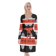 Poster Twenty One Pilots Long Sleeve Velvet Front Wrap Dress