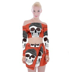 Poster Twenty One Pilots Skull Off Shoulder Top with Skirt Set